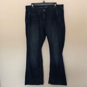 Loft Modern Flare Jeans slightly distressed.